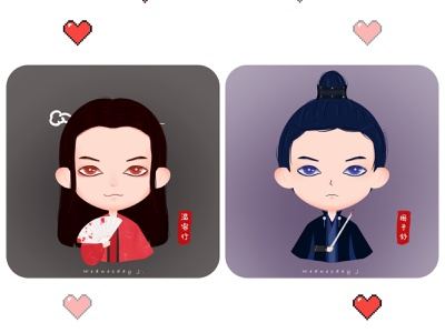 Word of Honor 山河令 matching avatar 武侠 martial art cute characters cute illustration tvdramafanart matching profile photos cute illustration digitalart