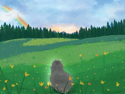 Bye, Memou sunset trees hills medow nature griefjourney rainbowbridge rainbow lostpet pet cat colorful digitalart illustration