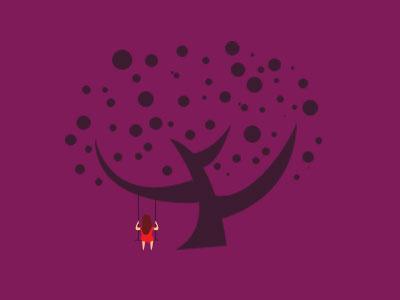 Swing'n tree abstract girl swing purple