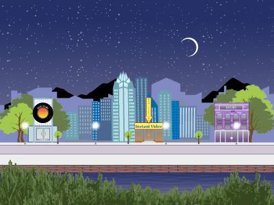 Cityscape night city background design web illustration