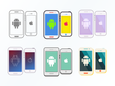 Six different styles mobile illustration iphone android vector
