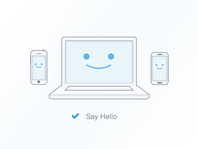 Hello! illustration laptop mobile