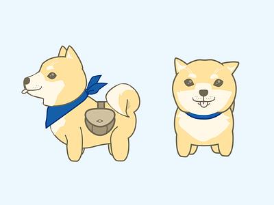 Shiba Dog mascot adventure backpack illustration japanese kawaii dog shiba