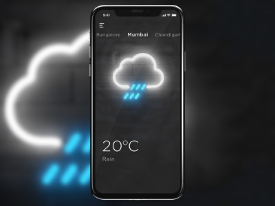 Minimal Weather App UI neon minimal vfx rain weather motion cloud c4d loop gif animation 3d