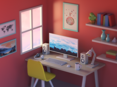 Work Setup  work  render  poster  low poly  keyboard  isometric  illustration  dreamy  computer  c4d 3d