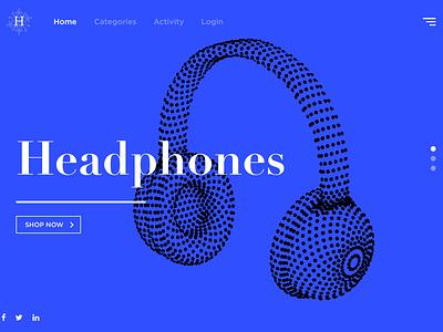 Concept for Headphone Website blue flat ui headphone motion website c4d loop gif ae animation 3d