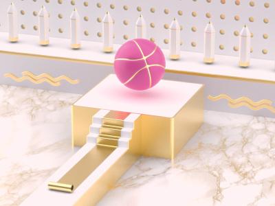 1x Dribbble Invite render marble dribbble gold isometric illustration dreamy invite c4d 3d