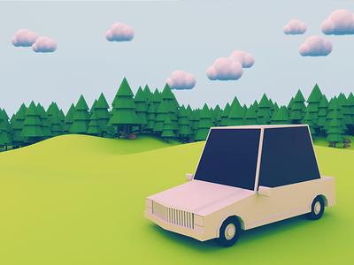 Car Rent UI Concept low poly ux tree website booking rent green illustration ui c4d car 3d