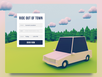 Car Rent UI Concept low poly ux tree website booking rent green illustration ui c4d car 3d