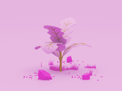 Plant scene stone low poly grass plant pink illustration c4d 3d