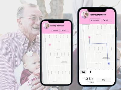 Location Tracker - day020 location tracker location app neumorphism dementia healthcare map location navigation tracking daily ui 020 mobile design mobile app mobile ui mobile design ui uidesign figma dailyuichallenge daily ui