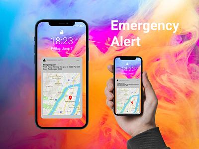 Emergency Alert samartphone mobile first dailyui ui design uidesign map iphone notification disaster emergency alert alert figma mobile