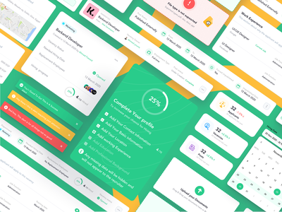 UI Components | Recruiting Platform web freebies illustration freebie free sketch agency recruitment employees employee