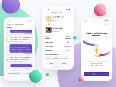Renting your store - Popup Shops Platform ui flat clean freebie popup shops negotiation collaboration rental rent ecommerce orders purchase entrepreneurs brand owner storefront store shops ios mobile illustration