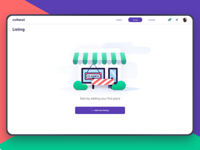 Start by Adding Your Store for Renting - Popup Shops Website sketch freebies free emptystate illustration mobile ios shops store storefront brand owner purchase orders ecommerce rent rental collaboration negotiation popup shops freebie
