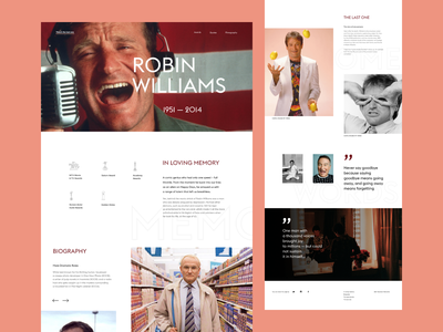Landing page for Robin Williams landingpage landing page typography web ui ux design