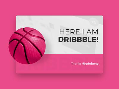 Hello Dribbble! card thank dribbble debut