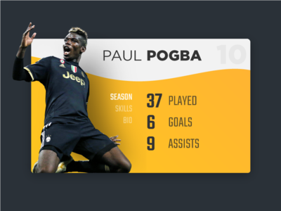 Player Card UI card trends ux ui details bio info stats soccer football player
