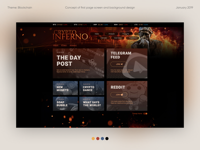 Crypto Inferno - concept of first page screen graphicdesign uidesign page design photomanipulation illustration background design blockchain digital art prototype content design ui screen webdesign crypto concept design