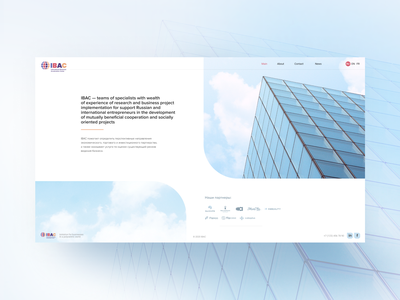 IBAC. Home page content design 2d development company business business presentation photoediting page design homepage design first screen main page ui  ux web design