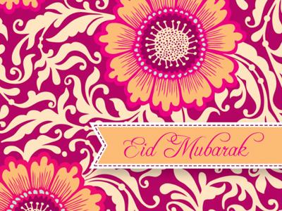 Eid Mubarak (Greeting Card Design) eid mubarak eid floral intricate vector flowers fuchsia orange indian pattern