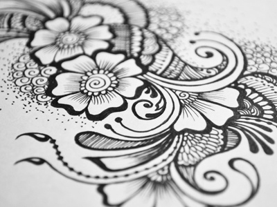 Floral Doodle 7 pattern free hand drawing henna mehndi arabic henna ink junoon designs intricate flowers hand drawn floral