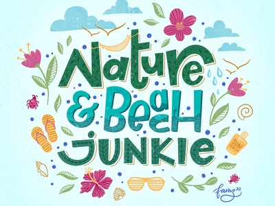 Nature & Beach Junkie procreate lettering barbados caribbean beach life beach junkie nature junkie island life beach custom lettering procreate hand lettering junoon designs illustration hand drawn lettering typography