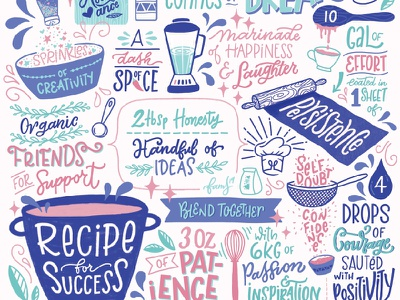 Recipe For Success ingridients persistence courage junoondesigns famz hand drawn type hand lettering typography illustraion pattern art success recipe