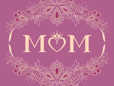 MOM pink mauve ornamental lettering hand lettering flourishes floral illustration typography hand drawn junoon designs mothers motherhood mom mothersday