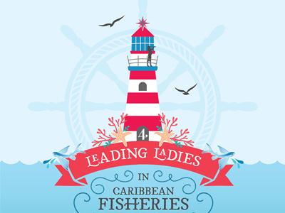 Leading Ladies in Caribbean Fisheries lighthouse fishing sea coastal graphic vector design calendar illustration