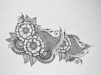 Floral Doodle floral hand drawn flowers intricate junoon designs ink arabic mehndi henna drawing free hand