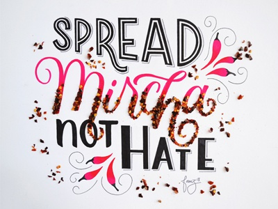 Spread Pepper not Hate pepper lettering food humour script hand lettering brush lettering typography