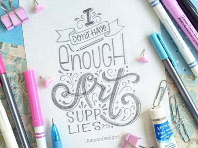 Not Enough Art Supplies art supplies white lies hand lettering lettering typography