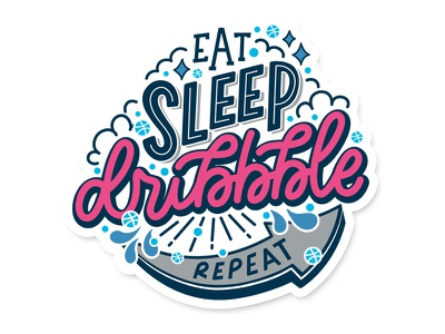 Eat Sleep Dribbble Repeat vector monoline lettering hand drawn type hand lettering typography dribble pun eat sleep dribbble repeat