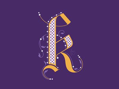 Letter K black letter letter k drop caps typography letter illustration lettering hand drawn type intricate lettering filigree