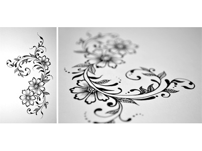 Floral Doodle 2 free hand drawing henna mehndi arabic ink junoon designs intricate flowers hand drawn floral