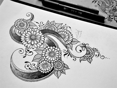 Floral Doodle 3 floral hand drawn flowers intricate junoon designs ink arabic mehndi henna drawing free hand