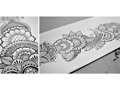 Floral Doodle 5 floral hand drawn flowers intricate junoon designs ink arabic mehndi henna drawing free hand pattern