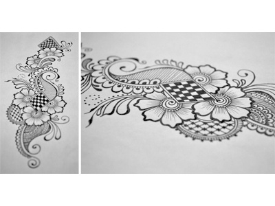 Floral Doodle 6 floral hand drawn flowers intricate junoon designs ink arabic mehndi henna drawing free hand pattern