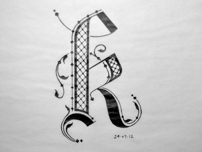K ink k flourishes black letter letter sketch lettering typography arabic