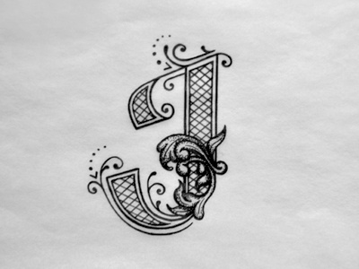 J initial decorative sketch ink typography hand lettering lettering dropcaps j letter flourishes