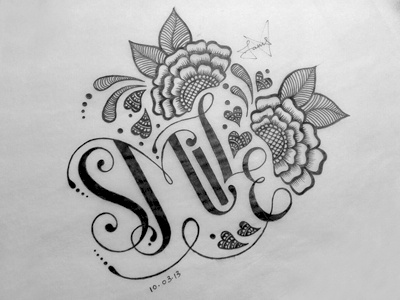 Smile typography hand lettering lettering smile flourishes henna flowers