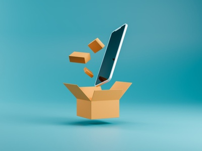3D Icon of Phone and carton boxes made in Blender box delivery phone uidesign ui blender icon 3d
