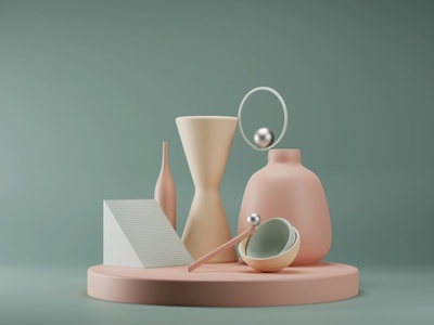 Trendy Abstract 3d Render podium with Geometric Shapes uidesign ui podium pastel blender geometic shapes render 3d trendy