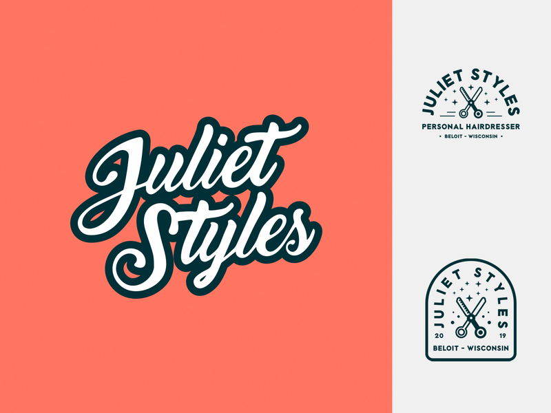 Juliet Styles Branding salon reef coral reef coral branding brand identity branding illustrator vector typeography logo graphic design caligraphy the9thtemple hairdresser logodesign identity vectorart