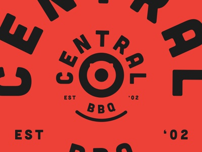 BBQ target pig central red food bbq mark identity typography design logo branding