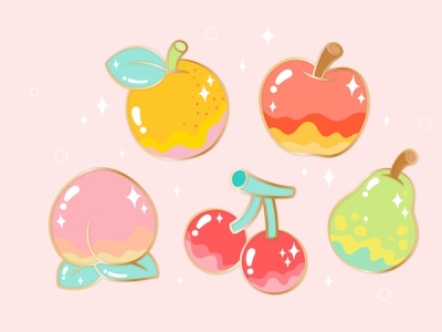 Animal crossing island fruits switch cherry pearl apple peach pear fruits gaming animal crossing lettering illustration typography