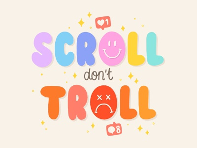 scroll don't troll procreate likes mean social media pack instagram comments social media scroll troll brush type hand drawn calligraphy vector hand lettering design type lettering illustration typography