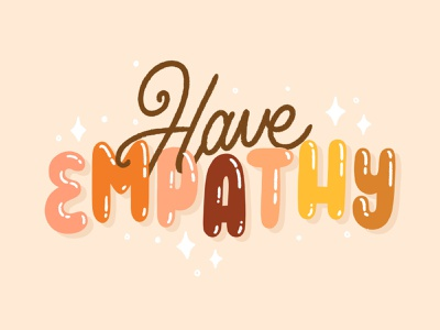 Have empathy yoga retro art zen mental health empath mood letters bubbles empathy hand lettered brush type hand drawn letter calligraphy hand lettering type lettering illustration typography