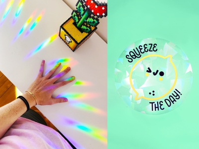 squeeze the day collab with helen bucher collaboration lemon rainbow decal rainbow maker rainbows suncatcher hand drawn hand lettering type lettering illustration typography